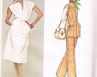 Vogue 1241/American Designer/Jerry Silverman/Dress/Top/Pants/ Size 8/UNCUT/Vintage/1970's