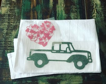 Vintage truck with hearts tote