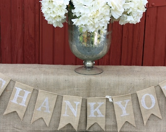 Thank You Burlap Banner -4ft Long - With White Writing ON SALE