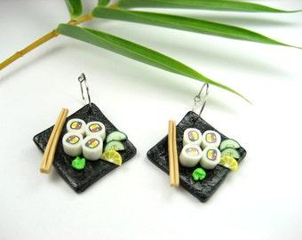 California Maki Sushi Earrings - food jewelry, sushi jewelry, food earrings, gift for her, Japanese, sushi, black earrings, food gift, clay