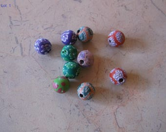 10mm with multicolored flowers polymer clay beads