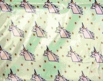 Laminated cotton patterns Unicorn Mint/gold color