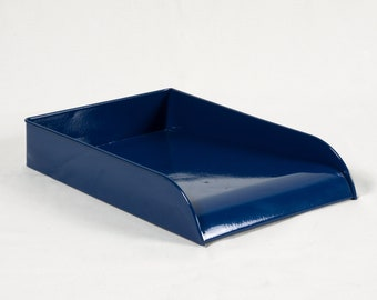 Vintage Steel Letter Tray Refinished in Midnight Blue - Free U.S. Shipping