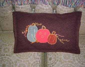 Fall Harvest Pumpkins Applique  Pillow - Brown