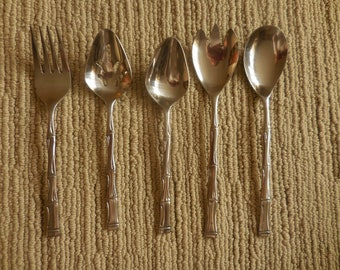 Five Vintage Stainless Bamboo Handled Serving Pieces