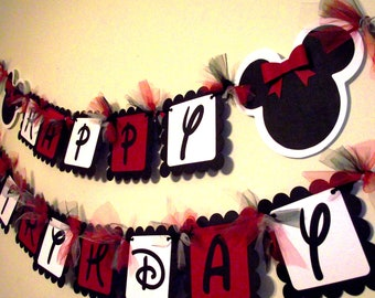 Minnie Mouse Inspired Happy Birthday Banner