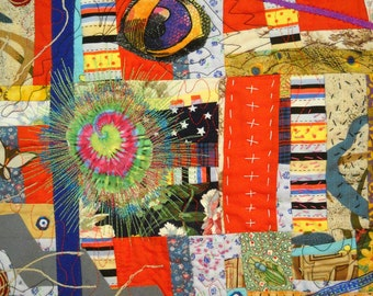 Art Quilt Textile Wall Hanging Night Journeys Dreams Wild and Interesting Imaginings What Do YOU SEE here