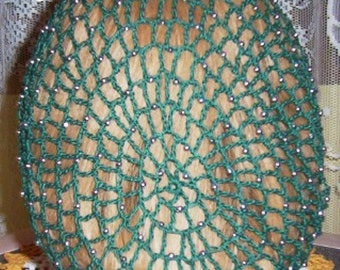 Cotton Hand made Beaded Hair Snood in my Standard Pattern-Beads on every row