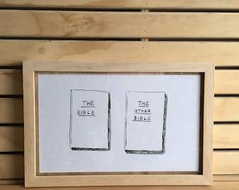 serious book covers - framed original drawings