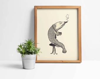 Smoking fish print, fish art print, fish wall art print poster decor, fish illustration, pointillism art