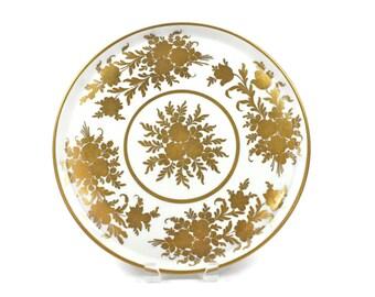Paris Porcelain, French Platter, Serving Platter, Hand Painted, Gold Gilded, Decor Main, Artist Signed, c1950s, Vintage China Plates