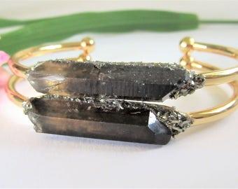 Smoky Quartz Bracelet - Gift For Women - Raw Crystal Bracelet- Raw Stone Cuff Bangle - Smokey Quartz Boho Fashion Jewlery