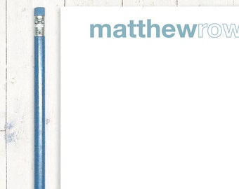 personalized notePAD - LAST NAME OUTLINE - stationery - stationary - choose color