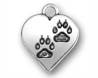 5 Silver Heart Paw Print Charm 17x14mm by TIJC SP0612
