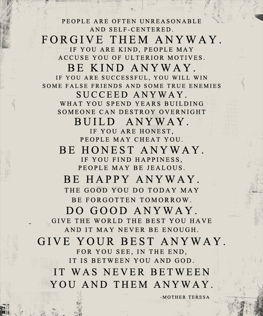 Mother Teresa Quote Love Them Anyway Mother Teresa Do It Anyway Distressed Worn Paper Look Stock