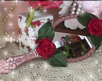 Inspired by Beauty and the Beast Enchanted Vintage Style Princess Handheld Hand Held Mirror Embellished Decorated Red Roses Rose Gold OOAK