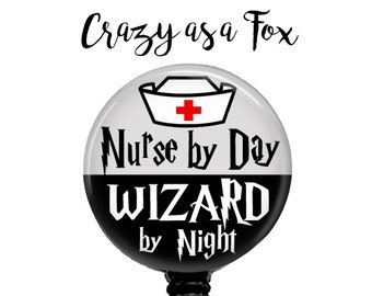 Nurse by Day Wizard by Night Retractable Badge Holder, Harry Potter inspired Badge Reel, Lanyard, Stethoscope ID Tag, Nurse RN Gift