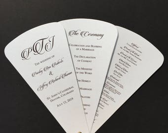 Wedding Program Petal Fan- Monogram