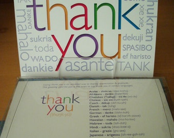 Thank You - Greeting Cards in different languages (6 Card Set )