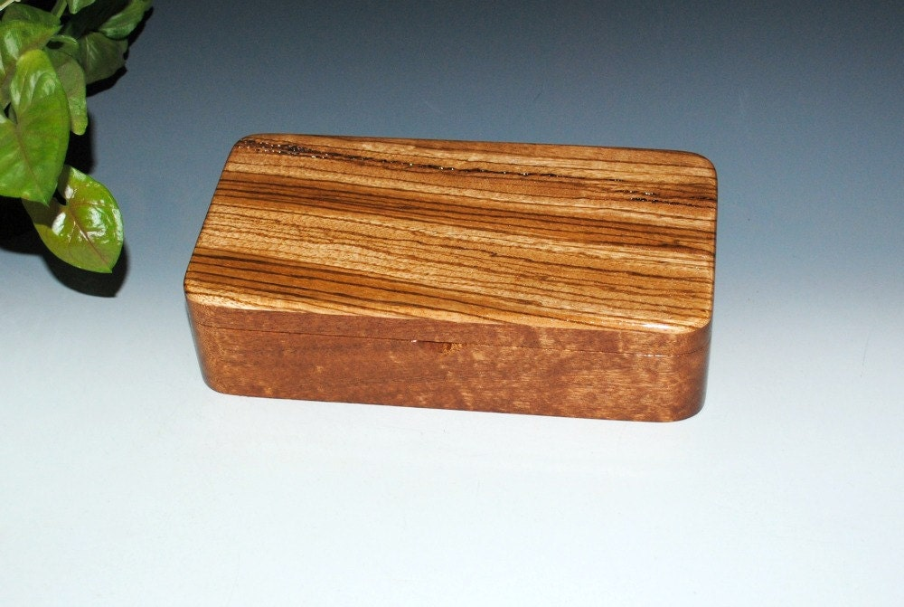 Handmade Wooden Box With a Tray Zebrawood on Mahogany by