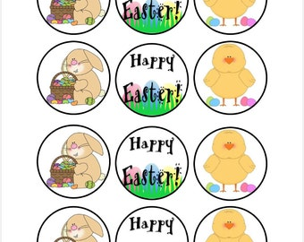 Edible Easter Themed Cupcake Cookie Toppers