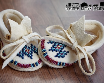 Native American Beaded Baby Moccasins size Newborn