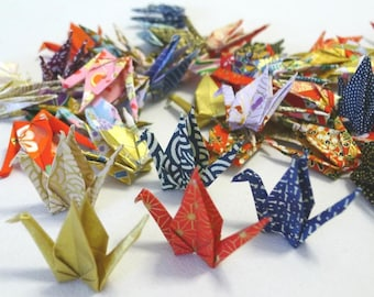 100 Beautiful Washi Japanese Origami Paper Cranes (3' x 3') - Random traditional chiyogami designs