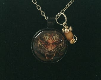 Handmade orange tiger necklace with pendant