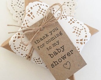 Rustic Favour Boxes Pk10 - Kraft Brown. Baby Shower Tags. Doilies. Twine.