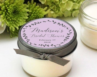 Bridal Shower Favor Candles - Laurel Label Design - Baby Shower Favors | Personalized Shower Favors | Soy Candle Favor | Set of 12