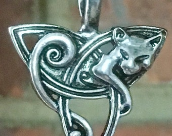 Antiqued Silver Plate  Double Sided Celtic / Viking Cat Pendant Necklace Jewellery