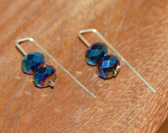 Blue Earrings. Crystal Sterling Silver Earrings. crystal earrings. crystal jewelry, Modern Earrings