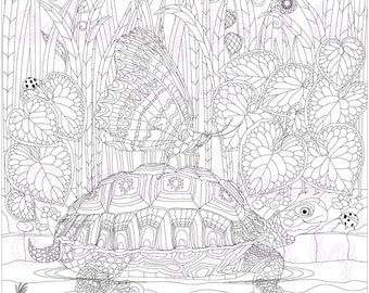 Adult Coloring Page, Fantasy Art, Coloring pages, Digital Download, Turtle and Butterfly, Coloring by Kristi