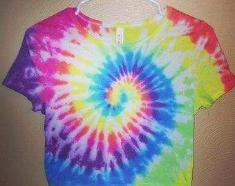 Tie Dye Cropped Tee - Handmade - Michigan Made - Festival Fashion - Rainbow Crop Top -