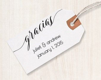 Gracias Rubber Stamp - Gracias Favor Stamp, DIY Wedding Stamp, Wedding Stamp, Favor Stamp