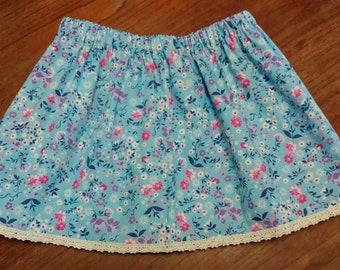 Wildflower Sky Blue Child Skirt, Summer Skirt, Girls Skirt, Toddler Clothing, Headband, Matching Set, Floaty, Spring, Beachwear, Holidaywear