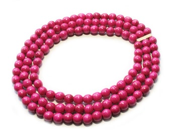 Hot Pink bead necklace Bright fuschia necklace chunky wood big beads necklace elastic pink strand bridesmaid necklace wooden jewelry set