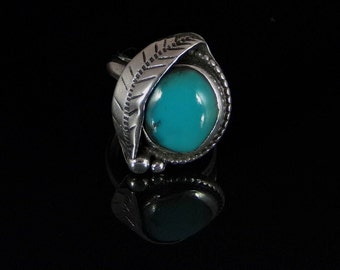 Turquoise Ring Sterling Silver Handmade Size 7.0, R0178