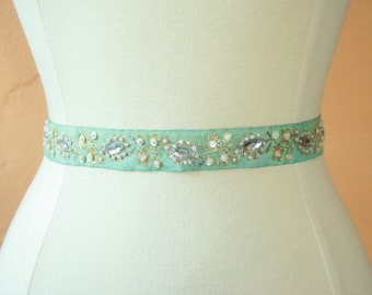 Eggshell Blue Beaded Bridal Sash