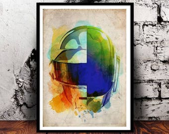 Daft Punk no lyrics A4 watercolour techno disco robot house music French France Paris Human After All Homework Discovery RAM Alive 2007 Tron