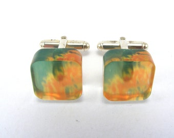 Mens Cufflinks - Square Perspex Cufflinks - Green Orange cuff links - Black Friday - Floral Cufflinks for dad - Cyber Monday - Gift For him