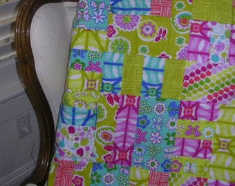 Modern Flannel Quilt --Free Shipping