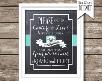 Instagram Wedding Sign - Wedding Hashtag Sign - PRINTABLE - Custom Color - Instagram Hashtag Sign - Wedding Hashtag