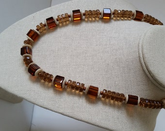 TOPAZ CUBE BEAD Necklace. Rust-Brown, Amber-Colored Faceted Crystal Bead Necklace with Bone Discs, Copper Clasp. 21 Inches. Unusual, Unique