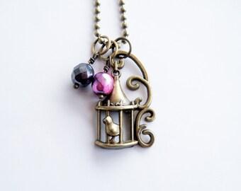 Bird Cage Necklace - Ornate Bird Jewelry - Bird Lovers - Birdcage Charm - Bird Charm - Aviary Jewelry - Custom Charm Necklace - Everyday