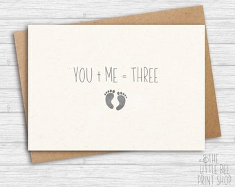 Expecting a baby card, We're having a baby card, You + Me = Three, You Plus Me Equals Three