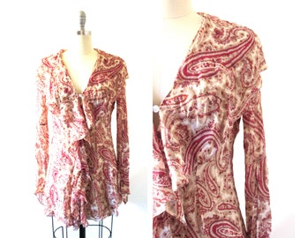 Women's Vintage 90s Revival Angie Red & Cream Paisley Sheer Chiffon Boho Hippie Gypsy Ruffle Blouse with Butterfly Sleeves // Size Small