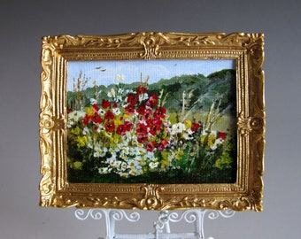 """1:12th Scale ~ Dolls House Miniature Painting ~  Original Oil on Panel ~ Framed ~ """"English Summer Hedgerow""""  by Carol Clarke"""