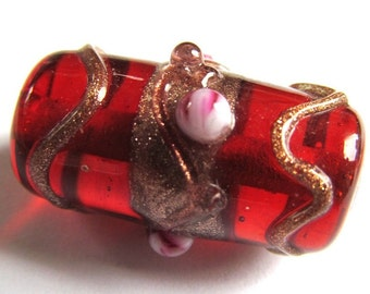 Reclaimed Cherry Red Copper Accented Lampwork Glass Focal Tube Bead