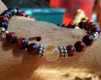 Red Tigers Eye Citrine Healing Bracelet